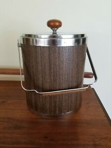 Vintage-Mid-Century-Modern-Ice-Bucket-Chrome-Wood-Cocktail-Party-Ranch-Home-mcm