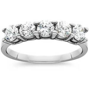 1ct-Five-Stone-Genuine-Round-Diamond-Wedding-Anniversary-Ring-14K-White-Gold