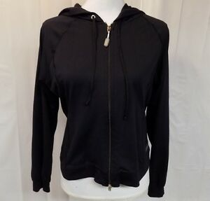 e8c224a7eec8a Details about SHOCK ABSORBER WOMEN'S ATHLETIC HOODIE BLACK SIZE L ZIP FRONT