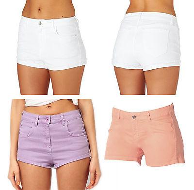 Ladies Size 10 12 20 New Stretch Denim Shorts Hotpants Coral Peach *LICK*