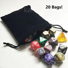 "Pack of 20 : BLACK Velvet Suedecloth dice pouch bag Medium 4"" x 4.75"" - Chessex"