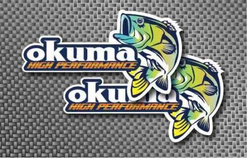 "2x Okuma 12/"" decal sticker Tackle fishing boat Saltwater Truck Freshwater Reel"