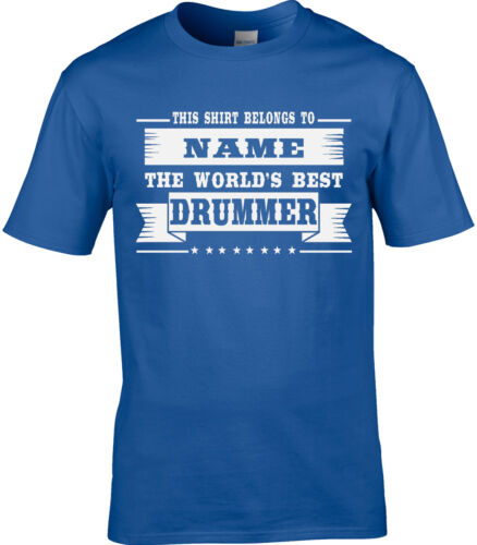 Drummer Mens Personalised T-Shirt Gift Idea Rock Jazz Band Funny Drum Sticks