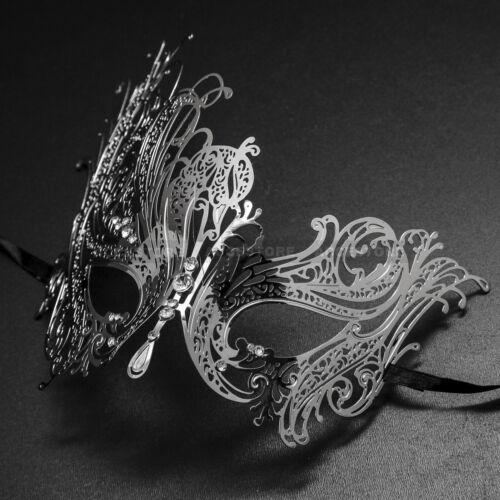 Luxury Mysteries Swan Metal Laser Cut Venetian Masquerade Mask w// Rhinestones