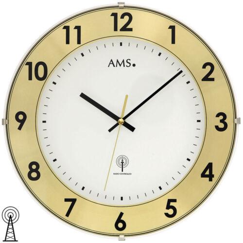 AMS 5947 Wanduhr Funk Funkwanduhr analog messing farben mit Aluminium-Ring
