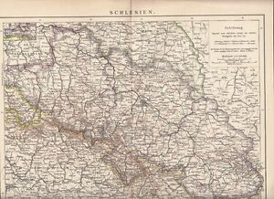 C 1890 Silesia Schlesien Germany Poland Czech Rep Antique Map Ebay