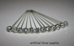CLEAR DIAMANTE HEAD PINS AND RED LOVE HEART HEAD PINS 10MM HEAD 5//6CM LENGTH