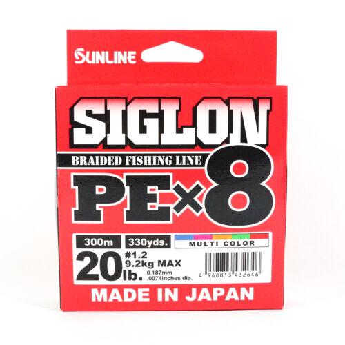 Sunline Siglon Braided Linie X8 300M P.E 1.2 20LB Multi Color 2646