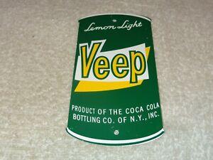 VINTAGE-VEEP-LEMON-LIGHT-SODA-POP-6-034-METAL-COCA-COLA-BOTTLING-CO-NY-GAS-OIL-SIGN