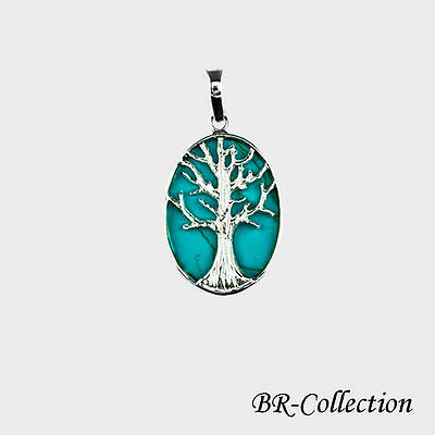 Sterling Silver Celtic Tree of Life Pendant with Turquoise Inlay - Irish Jewelry