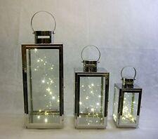 3 LANTERNS Stainless steel free set 3 x 20 LED lights INDOOR/OUTDOOR weddings
