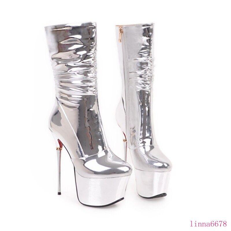 Round toe Women Platform High heel Stilettos shoes shoes shoes Patent Leater Hot Ankle Boots ff6c8b