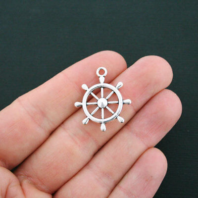 SC1868 8 Ship Wheel Charms Antique Silver Tone Boat Helm Charms