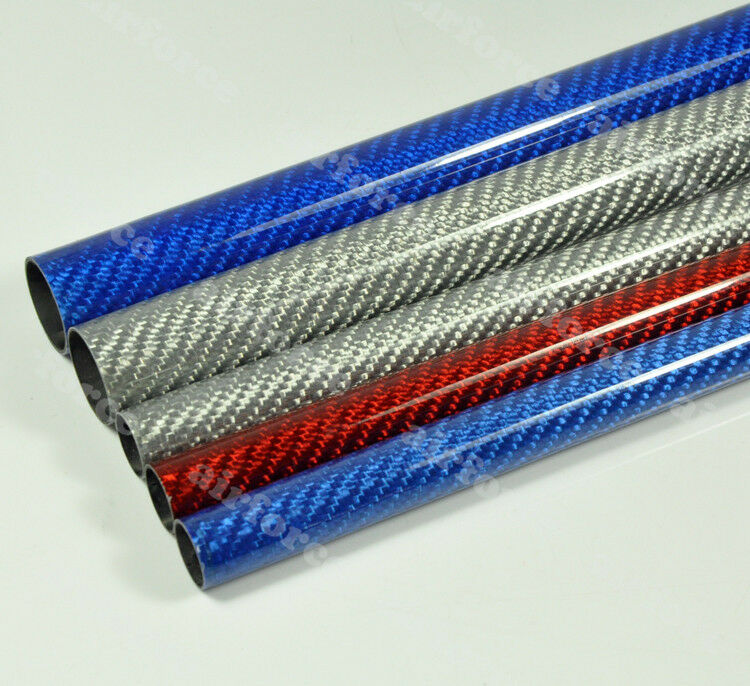 4pcs OD18mm*ID16mm*1000mm Length Glossy Surface 3K Carbon Fiber Tube Colorful