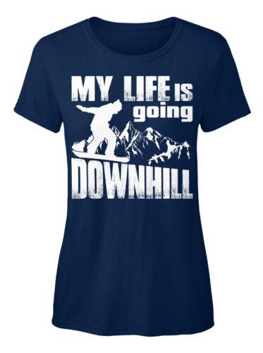 My Life Is Going Downhill Snowboarding Standard Women/'s T-shirt