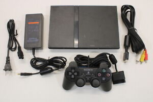 Sony PS2 SCPH-70000 Black Slim Console Cont AC AV Bundle Japan Import 2PC89