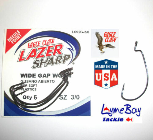 L092G Wide Gape Worm 1//0 to 5//0-6 Hooks per Pack Eagle Claw Weedless Hooks