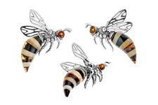 100% Sterling Silver Cognac & Milky Amber Bee Wasp Pendant Jewelry Jewellery