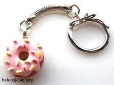 Hermosa Rosa Hecha A Mano Donut Llavero + Gratis Bolsa De Regalo
