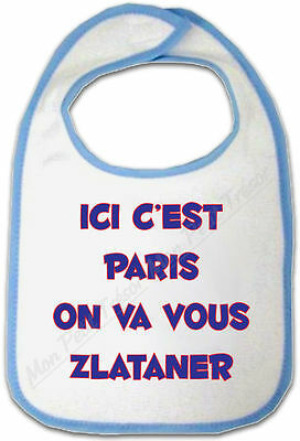 Other Baby Feeding Bavoir Bleu Bébé Ici C'est Paris On Va Vous Zlataner To Assure Years Of Trouble-Free Service