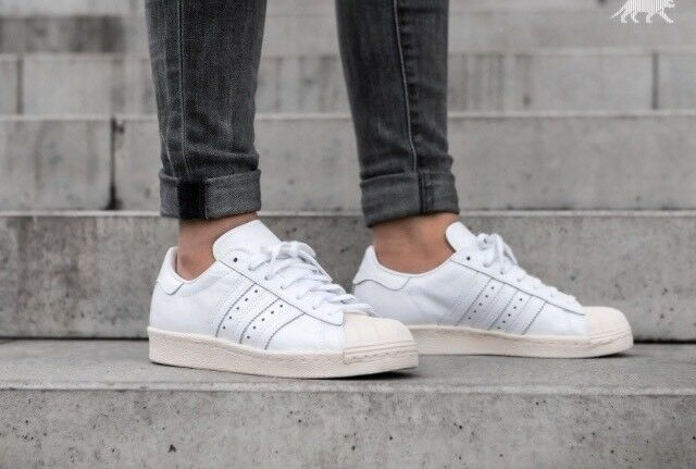 Adidas Superstar 80s -  Blanc  trainers with off- Blanc  toe -