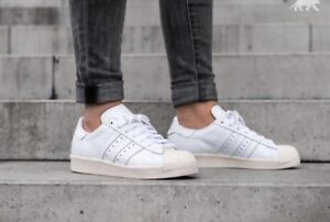 Image is loading Adidas-Superstar-80s-white-trainers-with-off-white- 2f98fe03e25