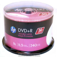 100 Pk Hp 8x White Inkjet 8.5gb Double Dual Layer Dvd+r Dl [free Priority Mail]