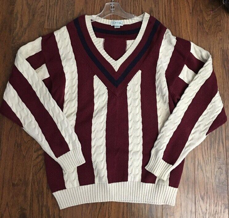 Vintage 80's IZOD Cable Knit Weiß & ROT Striped Blau Trim Rugby Sweater  Herren XL