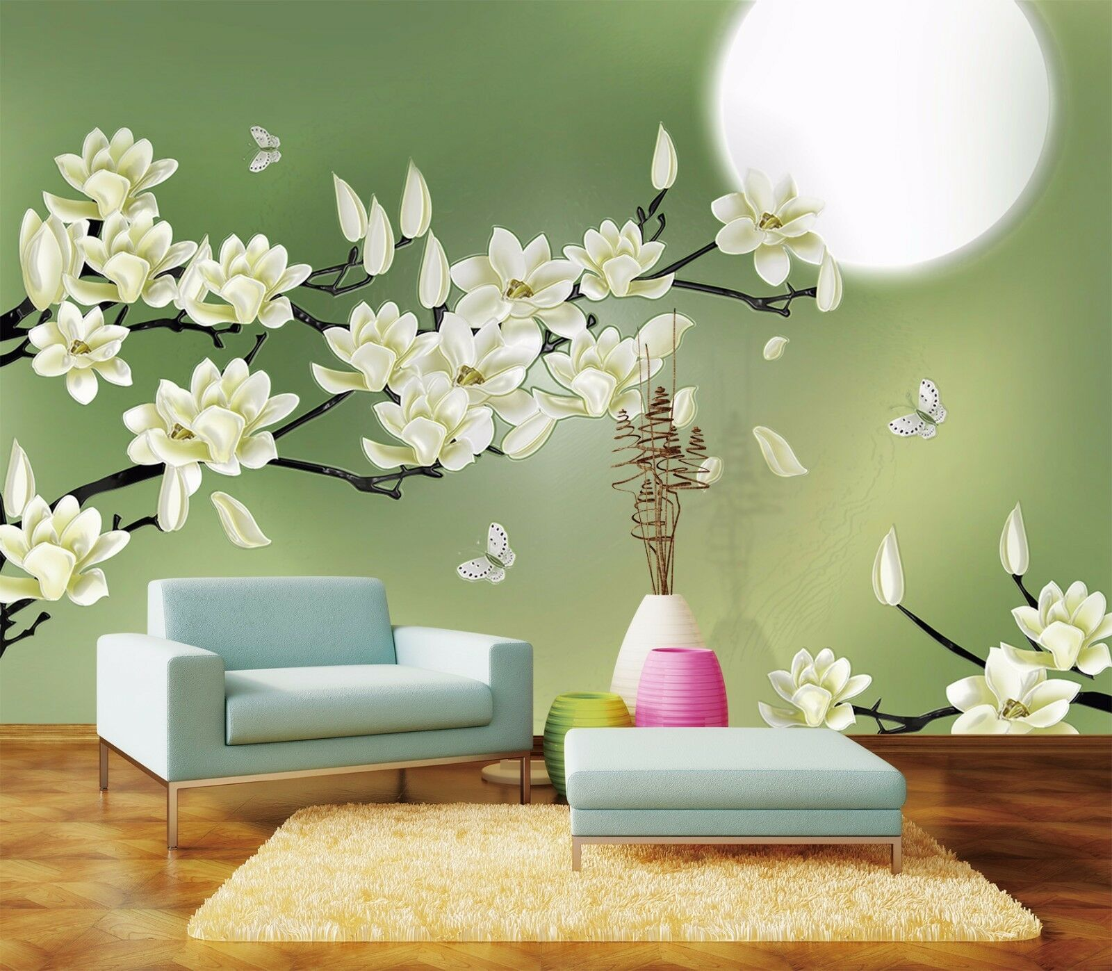 3D Moon, flowers 656 Wall Paper Print Wall Decal Deco Indoor Wall Murals