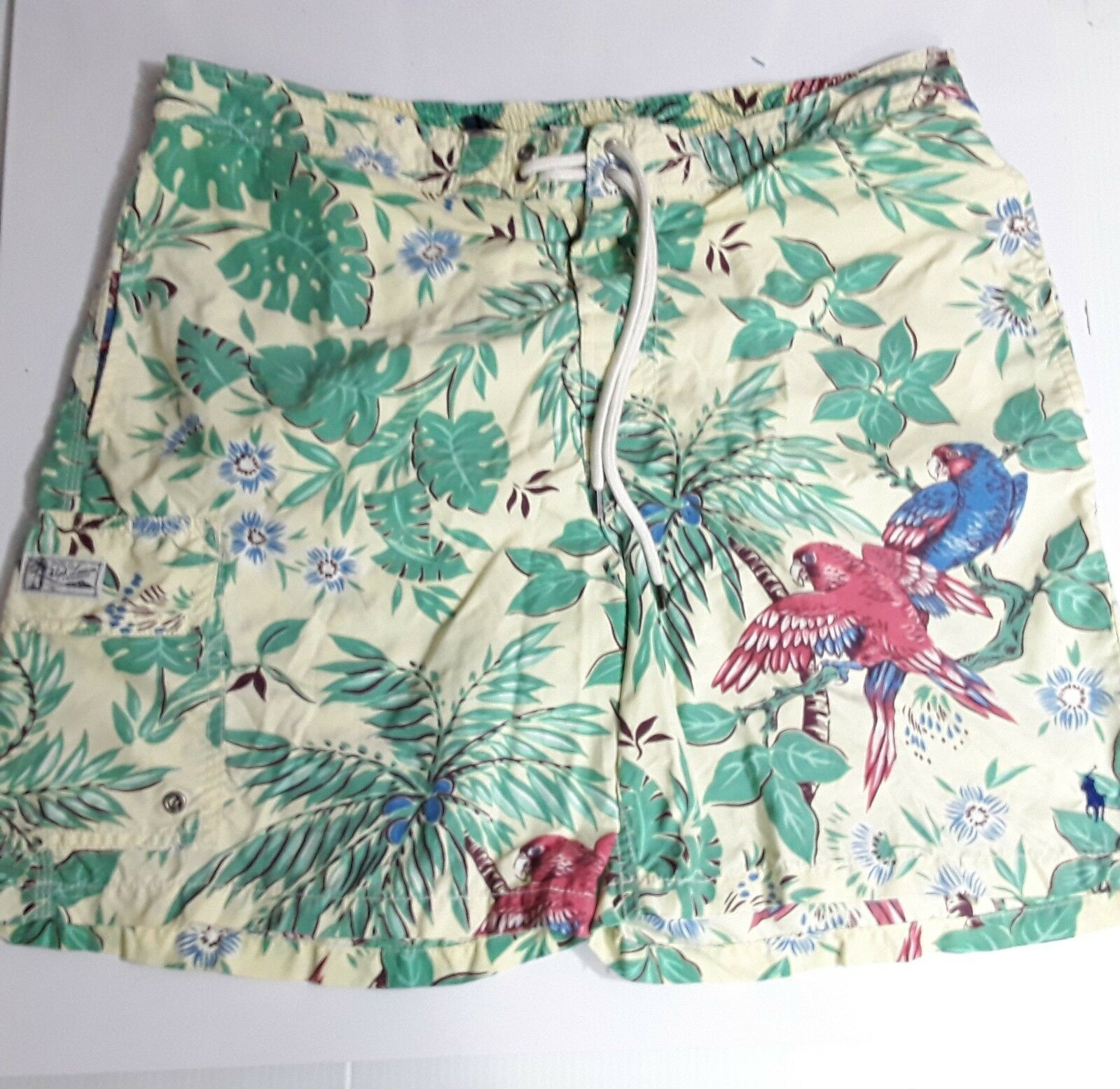MENS POLO RALPH LAUREN SZ L TROPICAL PARredS PALM TREE LINED SWIM TRUNKS SHORTS