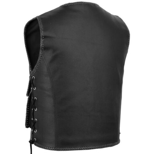 NEW MEN LEATHER MOTORCYCLE MOTORBIKE LEATHER VEST WITH WARPING TRIMMING