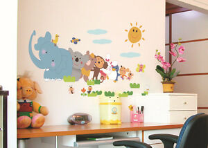 Cartoon world map animals decals kids room quote decor wall sticker image is loading cartoon world map animals decals kids room quote gumiabroncs Images