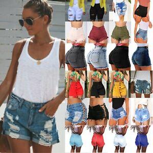 US-Women-Summer-High-Waist-Short-Mini-Jeans-Denim-Ripped-Casual-Shorts-Hot-Pants