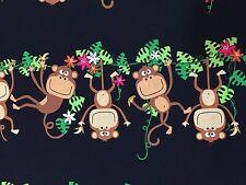 By 1/2 Yard Benartex Kanvas Fabric ~ Monkeying Around Swingin Monkey in Black