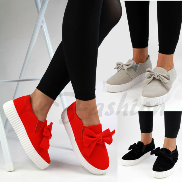 New Womens Casual Sneakers Flatform Bow Slip On Trainers Pumps Shoes Sizes 3-8