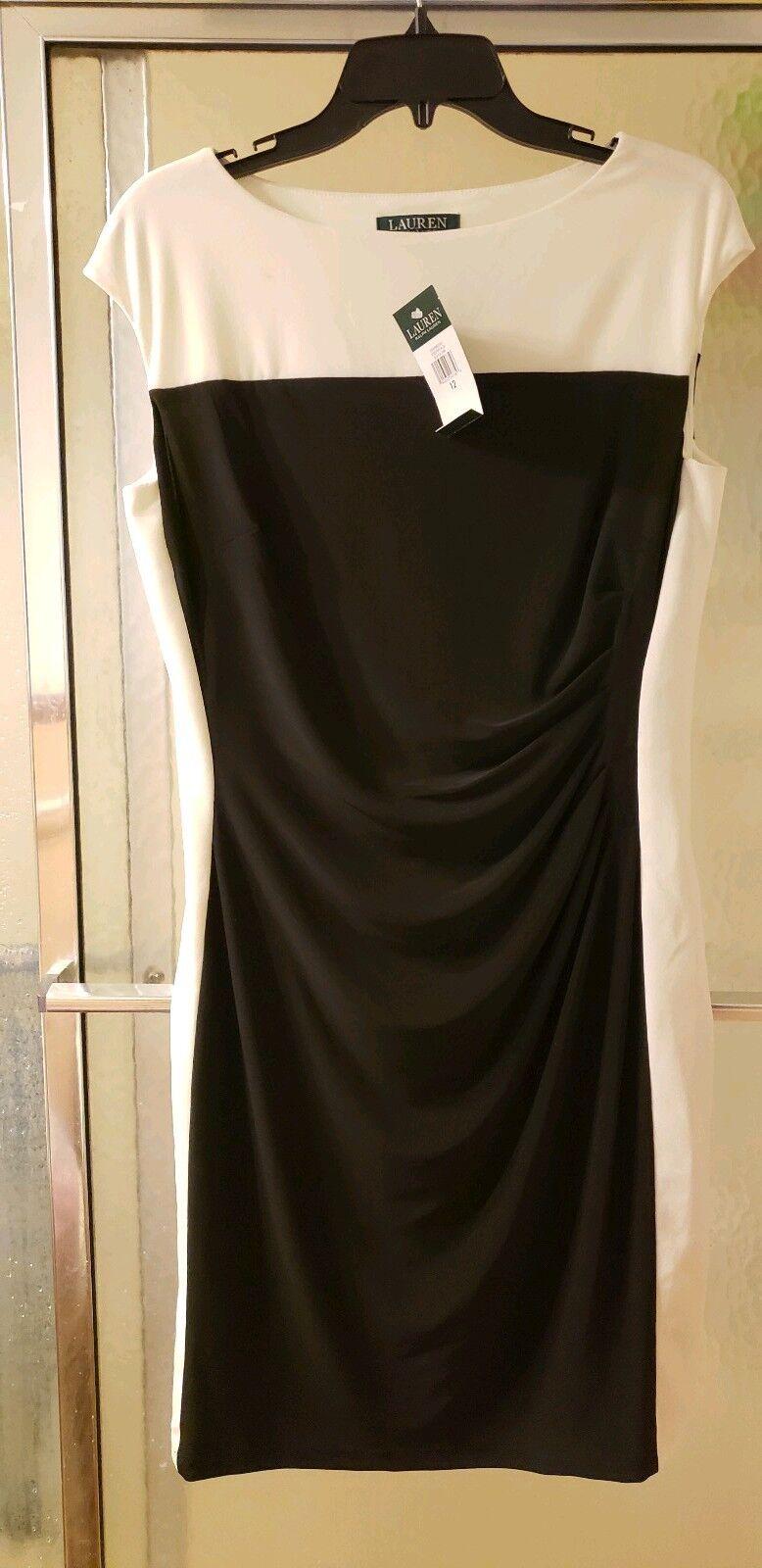 NWT Ralph Lauren Essentials; Cream & White color; Sz 12; Cap Sleeves;  80