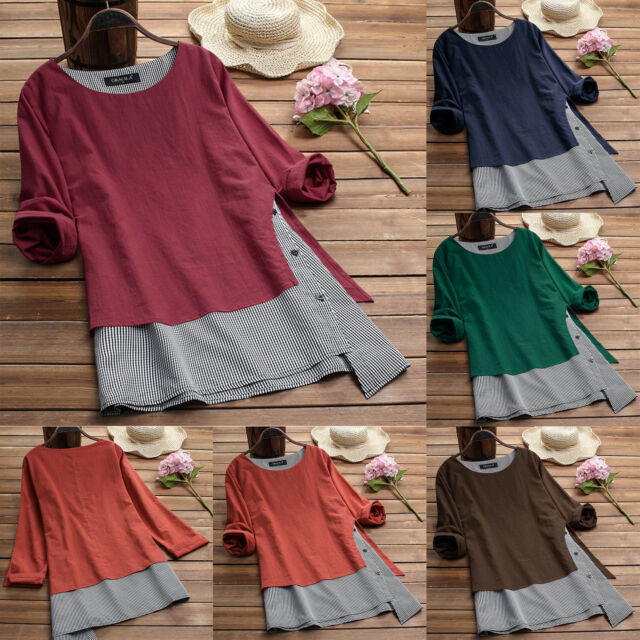 Womens Summer Crew Neck Blouse Loose Baggy Tops Tunic Splice T Shirts Plus Size