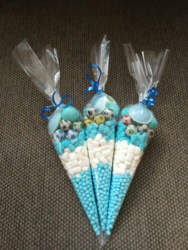 10 Boys Blue Football Themed Pre filled Kids Childrens Sweet party cones Bags