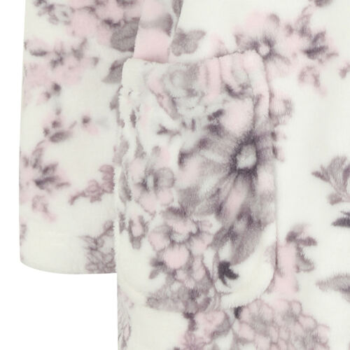 Slenderella Ladies Floral Coral Fleece Bed Jacket Button Front Collar Housecoat