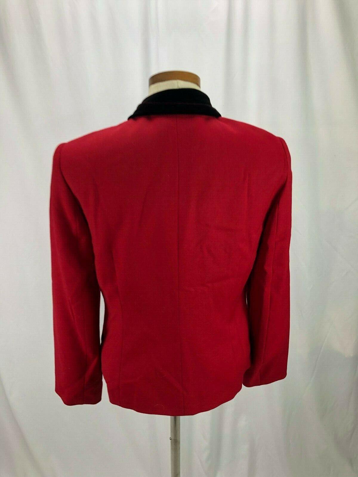 Talbots Women's Red Wool Blazer Velvet Collar 6 - image 4
