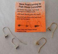 Earring Converters Convert Post To Fish Hook Reusable 2 Pr Goldtone & Silvertone