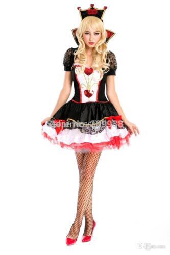 Ladies Adult Queen Of Hearts Costume Woman Halloween Queen of Hearts Fancy Dress