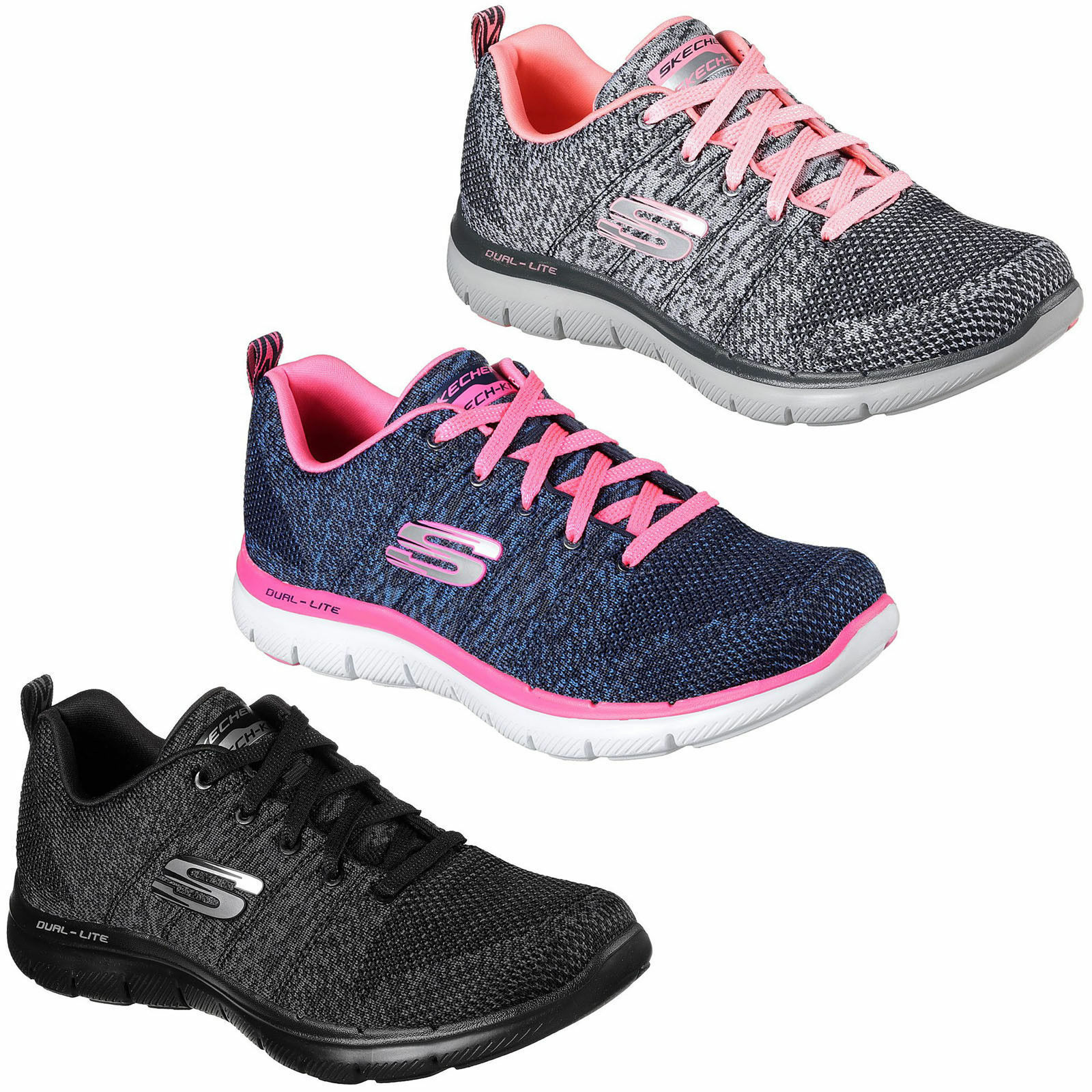Skechers Flex Appeal 2.0 High Energy Trainers Womens Sports Memory Foam shoes