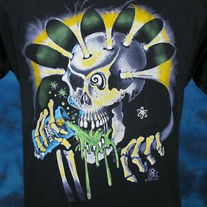Strict Vintage 80s Toxic Waste Skeleton Cartoon Paper Thin T-shirt Small Beer Skull Nos