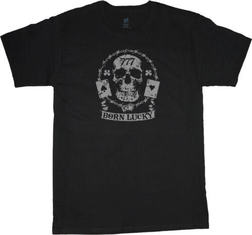 big and tall t-shirt Born Lucky 777 biker skull tee shirt tall shirts for men
