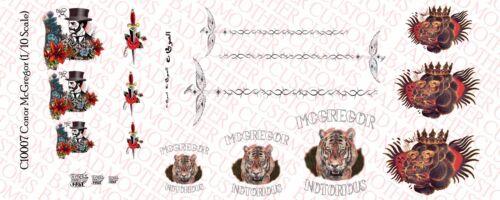 1//10 Scale Custom Conor McGregor Tattoos for 7 Inch Figure Waterslide Decals