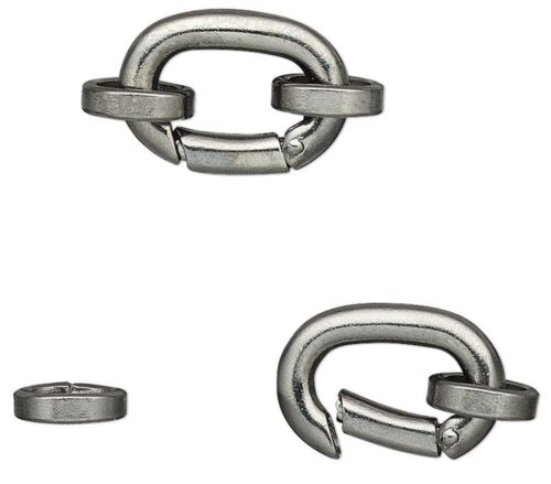 2 Gunmetal Plated Brass 14x10mm Self Closing Hinged Bails with Jumprings