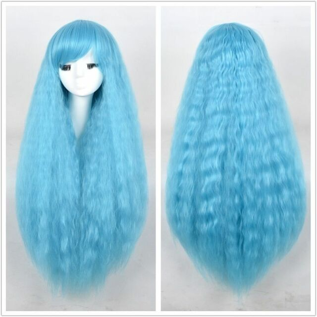 Sky Blue Perms Curls Afro Fluffy Pastel wig kinky curly Long Female Wigs 1086cc20fe