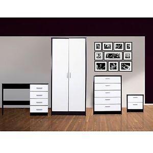 Contemporary-4-Pc-Bedroom-Furniture-Set-Dressing-Table-Gloss-White-Matt-Black