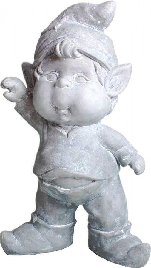 Süßer Kobold, Keramik, grau, 41 cm Gartenfigur Gartenzwerg Dekofigur Figur Gnom